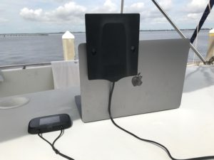 Panel antenna attached to a laptop