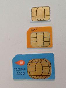 Nano, Micro, and Mini SIM cards.