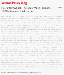 Verizon's official statement on the FCC ruling was delivered in Morse code.