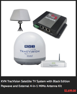 MaxxFi's latest bundle includes an auto-aiming TracVision satellite TV dish as part of the package.