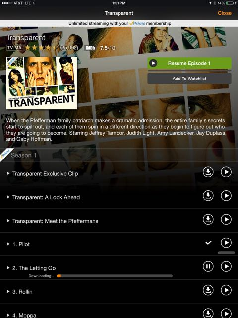 """The Amazon Instant Video App features """"Download"""" buttons so that you can queue up content for watching later."""