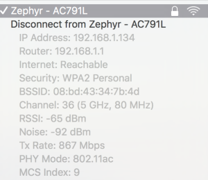 We saw local LAN speeds of 867Mbps when connected to an 802.11ac enabled computer!