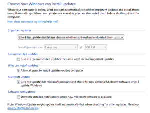 "In the Windows control panel, make sure that ""Recommended Updates"" is no longer checked, and you may also want to opt-out of automatically installing important updates too."