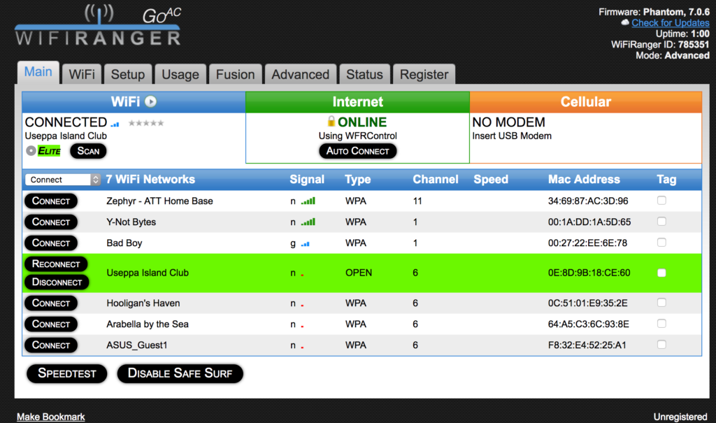 WiFiRanger Dashboard screenshot
