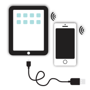 Tablet, smatphone and cord icon
