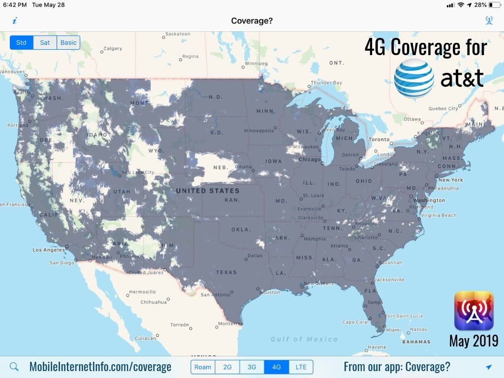 The Four Major US Carriers: Verizon, AT&T, T-Mobile and Sprint ... Cell Coverage Map Att on