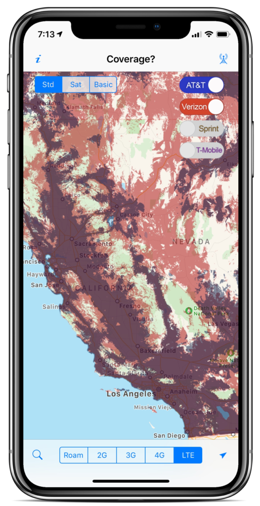 Cell Carrier Coverage Maps on
