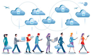 image of people walking and looking at cellular smartphones beneath clouds with sim cards in the clouds