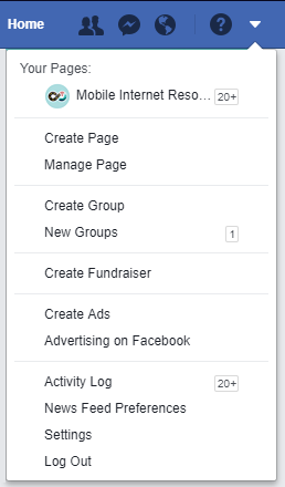 Screenshot of Facebook settings on mobile device