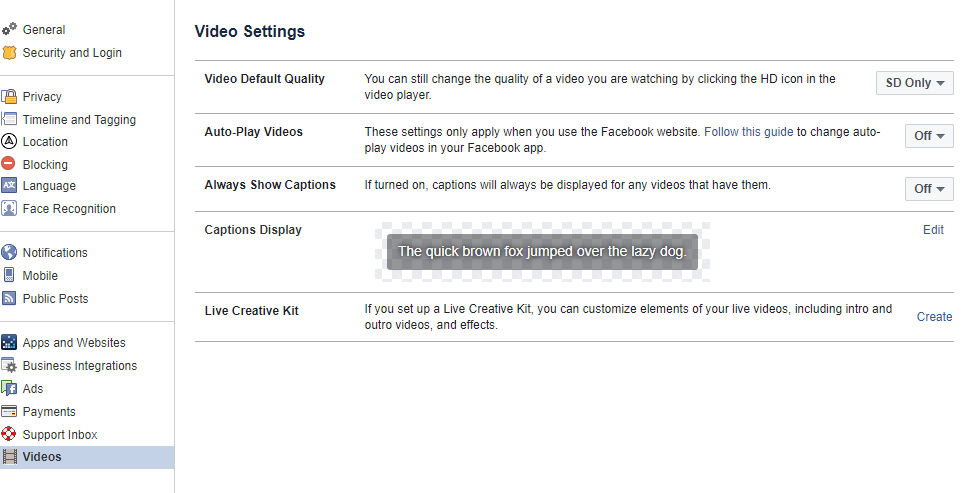 Facebook browser video settings