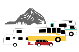 Three RV types with an illustrated mountain