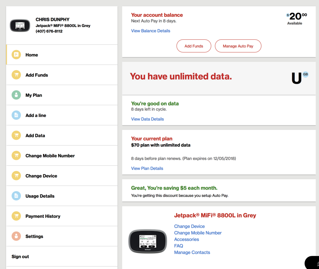 Screenshot of myVerizon account with pUDP