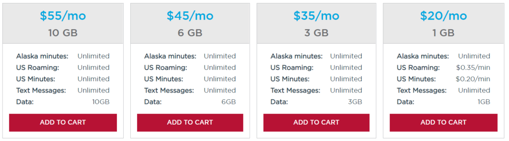 Alaska GCI Prepaid Plan options