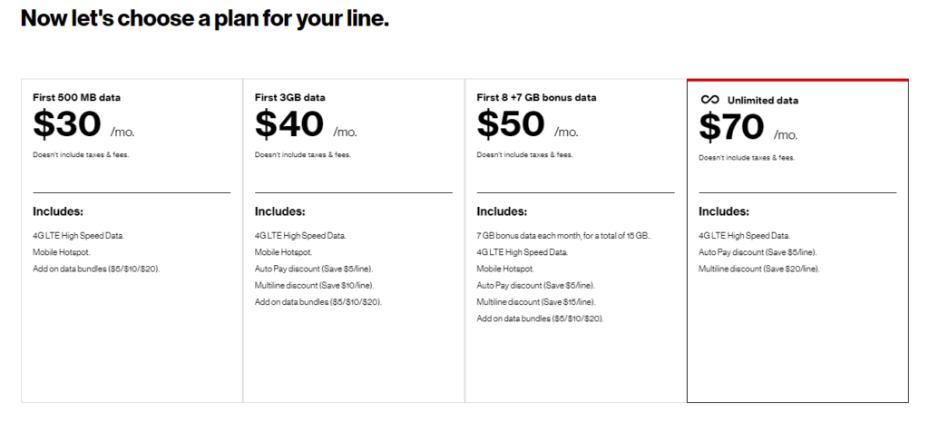 Verizon Prepaid Data Plan Selection