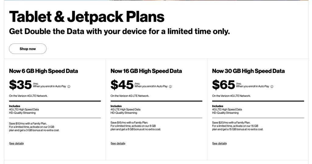 Verizon Prepaid Jetpack Double Data Promo