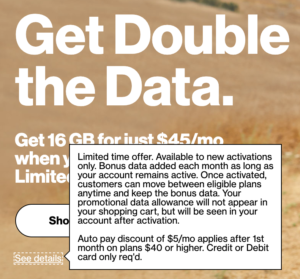 Verizon Prepaid Double Data Promo