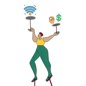 circus performer juggling plates with mobile internet icons on top icon