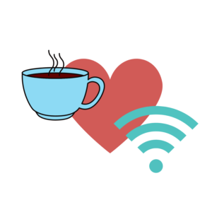 Coffee cup and Wi-Fi icon overlaying a heart icon