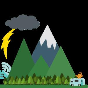 mountain and rv illustration