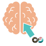 Brain with arrow pointing to it from the mobile internet resource center icon