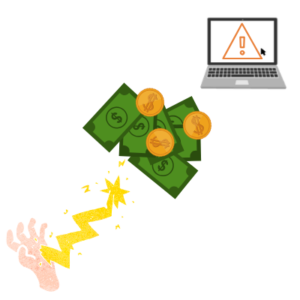 Hand emitting lightening to money and a laptop icon