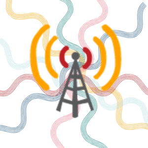 cellular tower with curvy lines behind it representing congestion