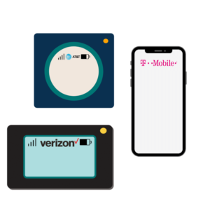 ATT hotspot, Verizon hotspot, T-Mobile phone icons