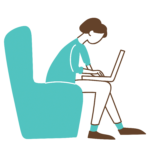icon of a person sitting in a recliner chair using a laptop