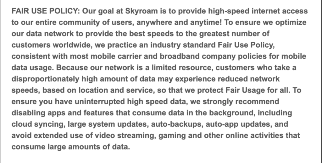 Skyroam's Fair Use Policy as stated on their website March 2020