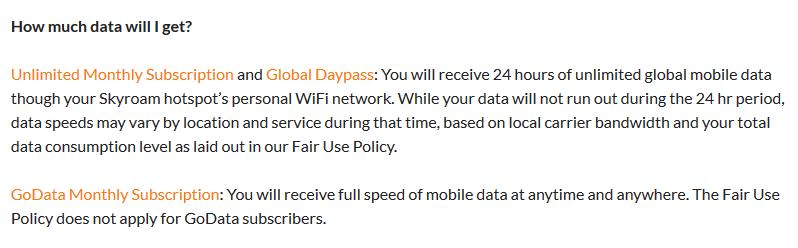 Skyroam's Data Management Policy as of Nov 2019