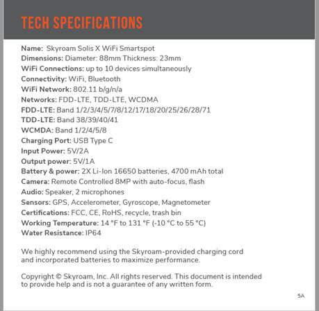 Tech Specs on the Solis X from Skyroam website