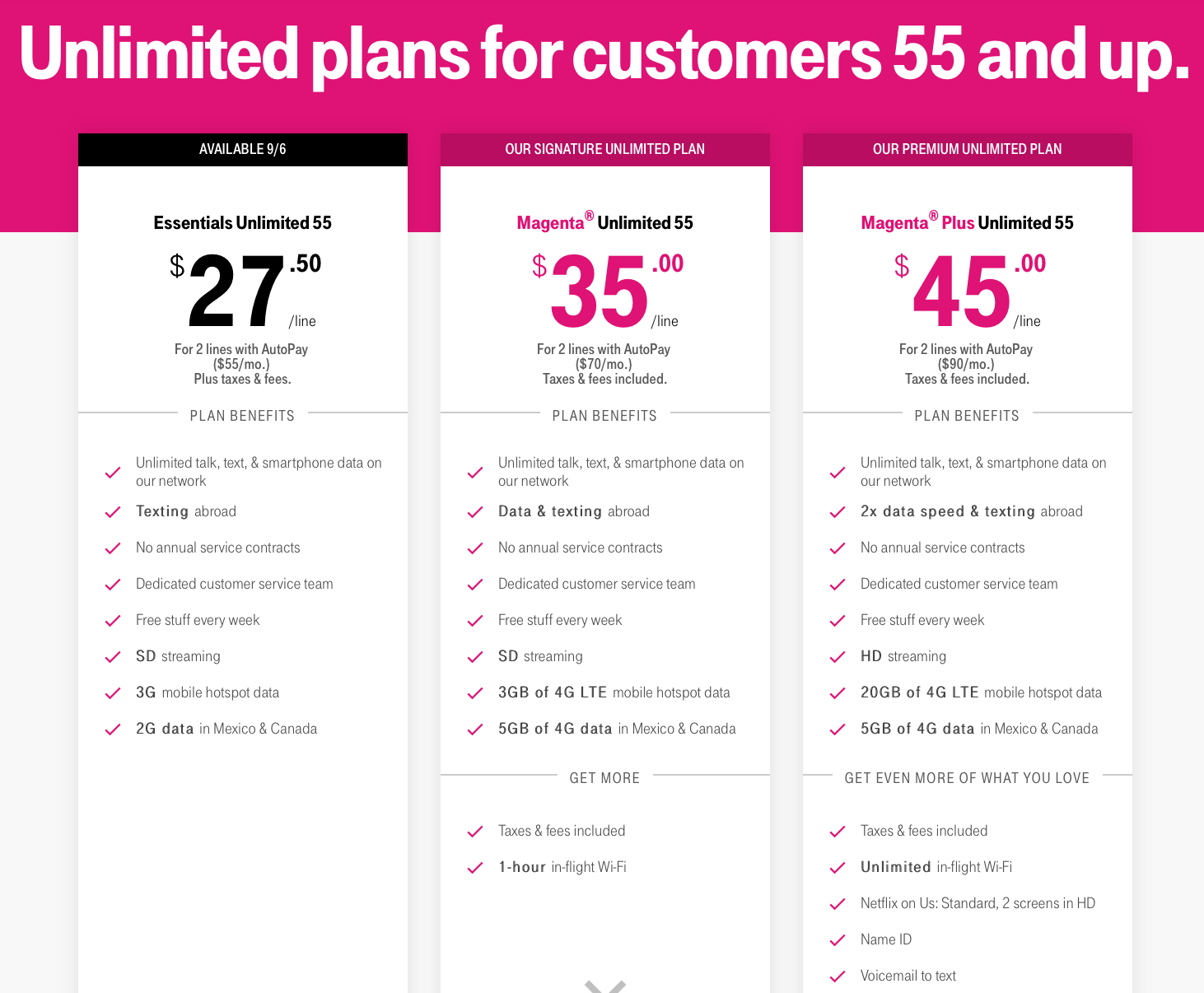 T Mobile Introduces Essentials Unlimited 55 Plan Offering 3 Tiers Of Senior Plans Mobile Internet Resource Center