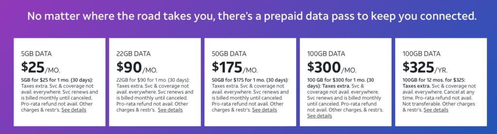 Screenshot of RV DataConnect Prepaid plan listings
