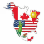 Map of North America with Flags