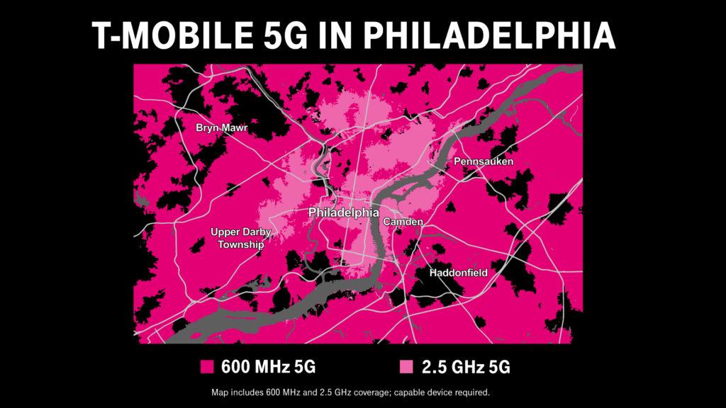 T-Mobile 5G in Philadelphia Map