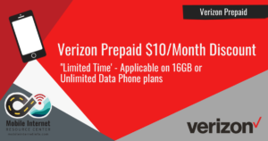 Verizon Prepaid 'Limited Time' $10/month Discount on 16GB or Unlimited Data Phone Plans Header