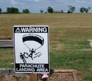 Parachute-Landing-Area Warning Sign