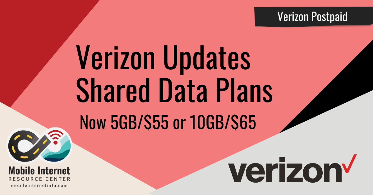 Verizon Updates Postpaid Shared Data Plans from S,M,L to 5GB or 10GB Header