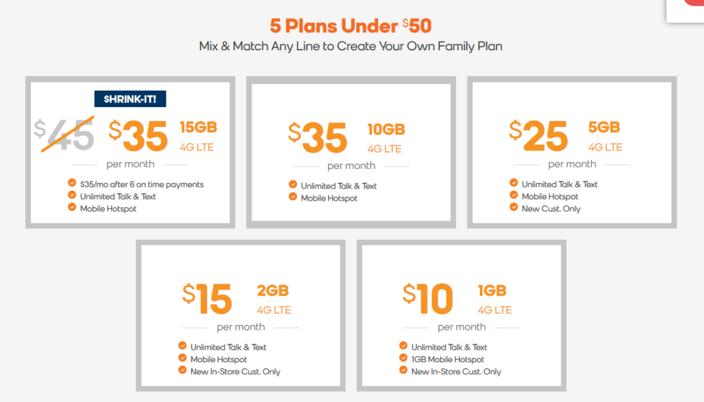 Boost 5 Plans Under $50 details as of August 2020