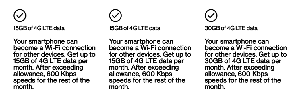 Mobile Hotspot fine print for the new plans as of August 2020