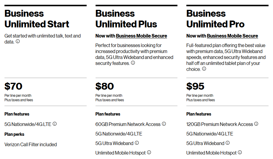 Screen shot of Verizon Business Plans from the Verizon website from October 2020