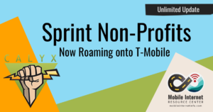 News header: Sprint Non-Profit Unlimited Hotspot Plans Gain Access to T-Mobile Roaming - Calyx, PCs for People