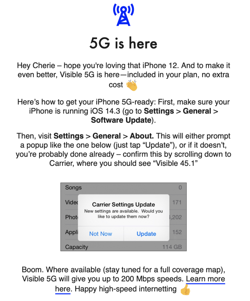 Visible 5G Email screenshot