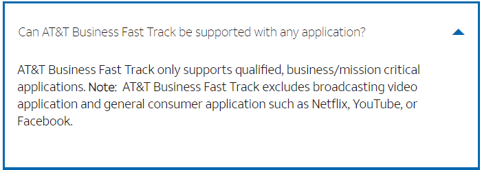 AT&T Business Fast Track Limitations