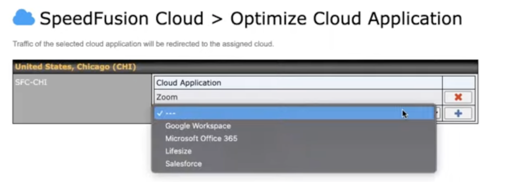 SpeedFusion Cloud optimization settings in 8.1.1