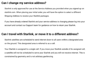 starlink mobility FAQ screenshot