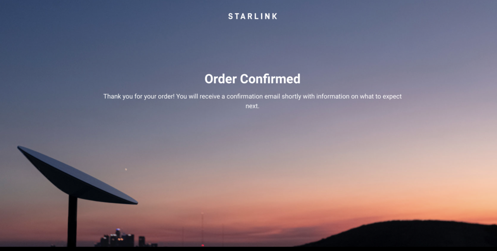 starlink order confirmation