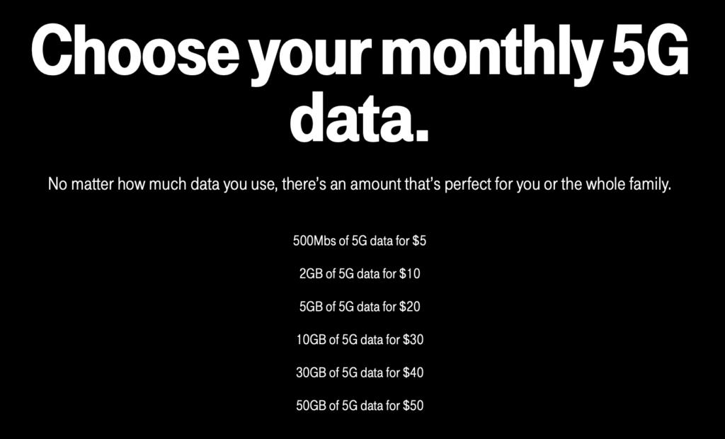 Mobile internet plan listing for prepaid