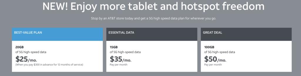 att prepaid data only plans