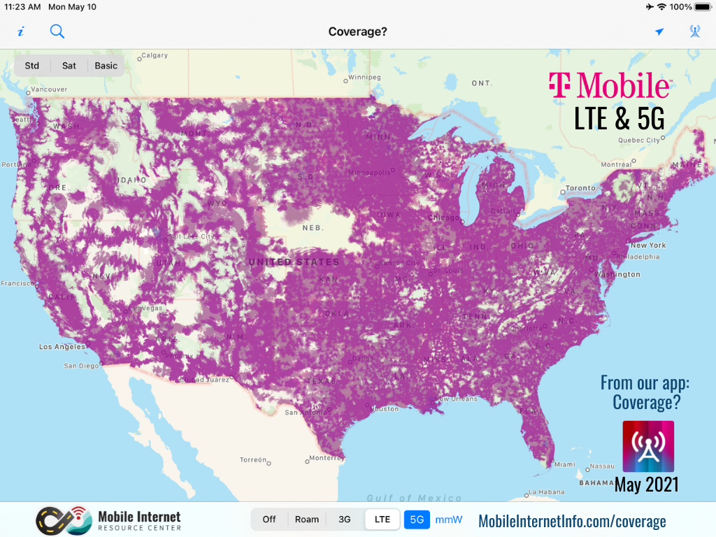 tmobile lte 5g coverage may 2021